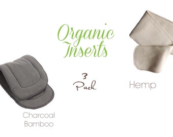 Cloth Diaper Inserts 3 Pack Organic Hemp or Charcoal Bamboo you pick