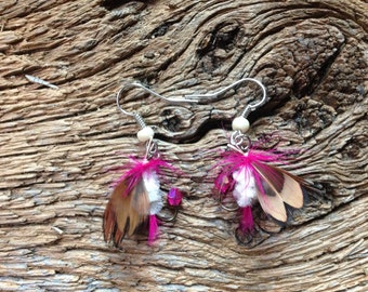 Pink and white fly fishing earrings: fly fishing fly earrings for Valentine's Day, Mother's Day earrings, Valentine's Day fish, I love you
