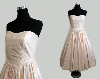 50s Dress Small / Strapless Dress / 1950s Prom Dress / 50s Party Dress / Rockabilly Dress Swing Dress   Cotton S Small