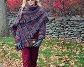 FREE SHIPPING / Plaid Poncho shawl/cape