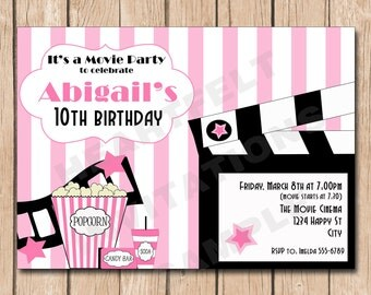 Girl Movie Party Birthday Invitation   Pink, Zebra, Summer, Spring - 1.00 each printed or 10.00 DIY file