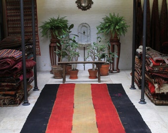 Striped Hand Woven Turkish Kilim Perde - 364x180cm 143x70 inches - Vintage Rug Throw Blanket