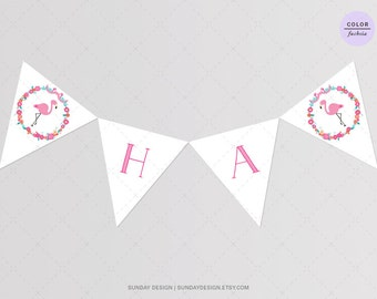 Flamingo Birthday Banner - DIY Printable Happy Birthday Bunting Banner
