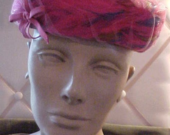 1950s Pink Multi Colored  Feather Pillbox Hat, with grosgain ribbon, label: Richard Original