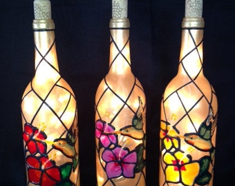 Hummingbird and Hibiscus Wine Bottle Light Lamp