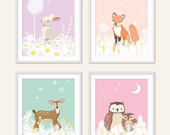 Girl Woodland Nursery, Baby Girl Nursery Art, Fox Woodland Nursery Art Print, Owl, Deer, Fox, Forest Friends, Woodland Critters