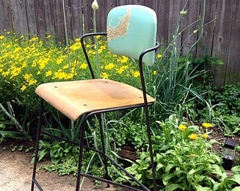 SALE-MCM Refurbished Reappointed Map Theme Bentwood Seat Thonet Style Iron Base Bar Stool; Mid Century Bar Stool- No Table
