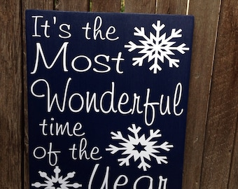 Christmas Decor Holiday Decor It's The Most Wonderful Time of the Year Christmas Decoration Christmas Sign Wood Sign