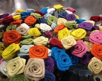 Burlap Flower Rosettes - Pick Your Color Burlap Flowers  Shabby Chic Wedding Decor NEW COLORS AVAILABLE- Set of 12