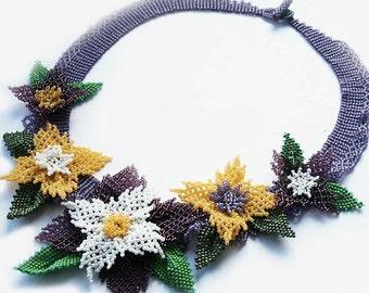 seed bead necklace, seed bead collar, beaded necklace, beadwoven necklace, beadwork, flower necklace, seed bead jewelry, gift idea, bohemian