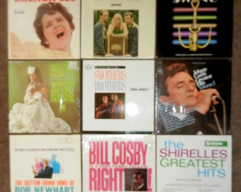 Twelve Vintage Record Albums - 33 1/3 rpm - Memories from the 60s