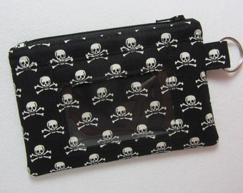 Skull & Crossbones / Skulls Keychain ID Wallet w/ Split Ring, Student / Teacher / Work ID, Badge Holder, Zip Pouch - 2 Options for ID Pocket
