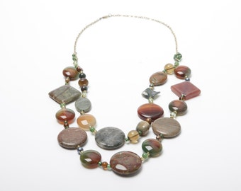 Mireille Polished Stone, Freshwater Pearls and Glass Bead Necklace
