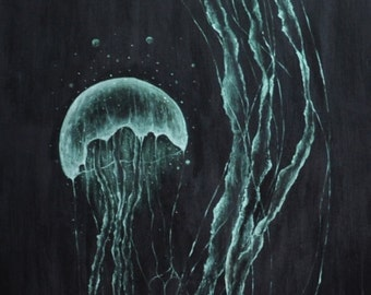 "Jellyfish Painting 14""x30"" on Gallery Wrapped Canvas"