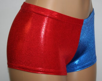 Harley Quinn Suicide Squad Costume Booty Shorts in Red and Blue Matrix Holographic Mini Dot!