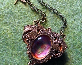 Necklace Art Nouveau style Faerie Portal necklace with dragonfly