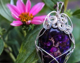 Purple Jasper Wire Wrapped Pendant