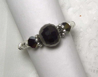 "Cynthia Lynn ""HYPNOTIC"" Jet Black Silver Plated Beaded Stretch Ring (Choose Size)"