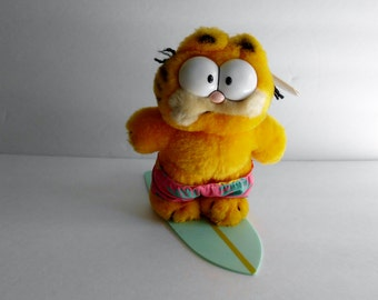 Garfield Wave Rider Dakin plush cat 1980's  on his surfboard Made in Korea