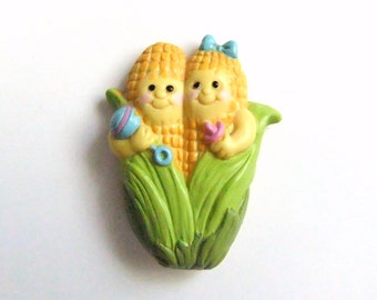Anthropomorphic Corn Magnet, Baby Corn, Anthropomorphic Vegetable Magnet, Refrigerator Magnet
