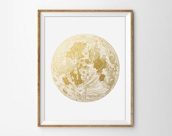 Moon Print, Faux Gold Foil, Minimal Art, Office Print, Home Decor, Wall Art, Full Moon Poster, Modern Art
