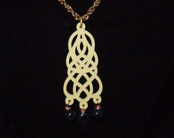 Dark Blue Filigree Necklace