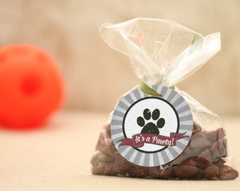 """Black and white puppy party favors, dog party favors—pink dog party supplies that say """"Good Dog"""" and """"Its a Pawty!"""""""