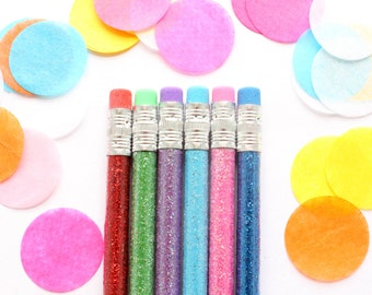 Glitter Pencils, Set of 6 Pencils, Sparkle Pencils, School Supplies, Party Favor