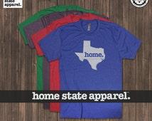 Texas Home. Shirt Men's/Unisex Red Royal Purple Green