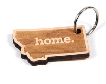 Montana Key Charm by Home State Apparel: Laser Engraved Wood Keychain, MT