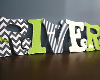 Custom Nursery Letters - Baby Boy Nursery Decor - Wooden Hanging Letters - Baby Name Letters - Navy Blue/Green/Elephant Theme