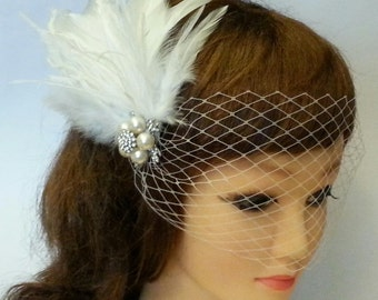 Bridal birdcage veil Vintage inspired 1920's  Birdcage Veil Feather,Crystal,Wedding Pearl Hair Clip n French net Blusher White Ivory Black