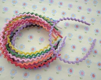 50pcs mixed colors the waves 5 mm wde plastic headband