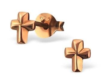 Rose Gold cross Earrings, tiny cross stud earrings, cross stud earrings, children earrings, baby earrings.