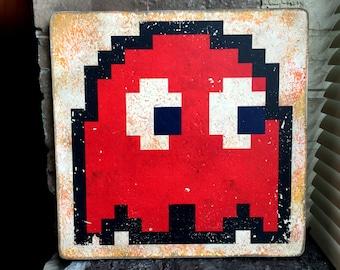 Atari 8-Bit Pac-Man Blinky Distressed Wood Art