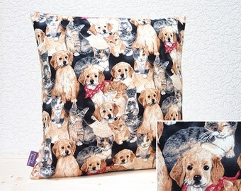 "Handmade 16""x16"" Cotton Cushion Pillow Cover in Cream/Brown/Ginger/Grey/Red Cute Puppy Dogs & Kittens on Black Puppy Love Design Print"