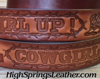 Cowgirl Up Leather Name Belt