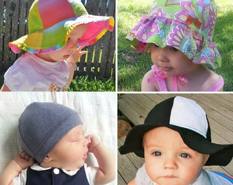 RAINBOW HAT Pattern Boys Girls Straight Brim / Ruffle Brim / Beanie. Reversible, Lined, Unlined ...
