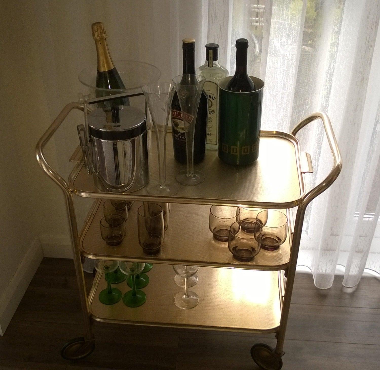 Bar Cart Rolling Drinks Trolley Mid Century Modern Tea Trolley