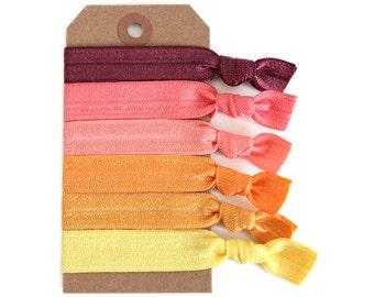 SUNSET Elastic Hair Ties, Ponytail Holders, Stretchy Ribbon Hair Ties, Elastic Hair Accessories, Yoga Hair Ties, Boho
