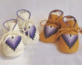 Purple and Whte Beaded Baby Moccasins and Soft Soled Walkers Shoes made of soft leather