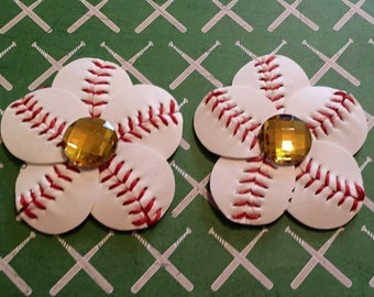 Baseball Hair Clip and Flip Flop Clips with Yellow/Gold Rhinestone