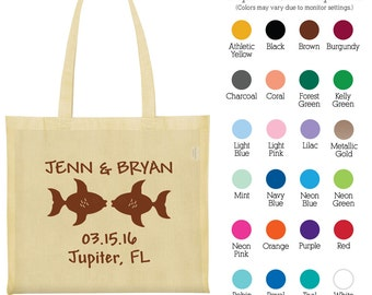 Canvas Bags (C1866) Two Fishes - Personalized Wedding Bags - Wedding Favors - Personalized Bags - Custom Tote Bags - Cotton Bags