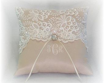 Ring Bearer Pillow, Champagne and Ivory Ring Bearer Pillow, Monogrammed Ring Bearer Pillow, Personalized Ring Bearer Pillow