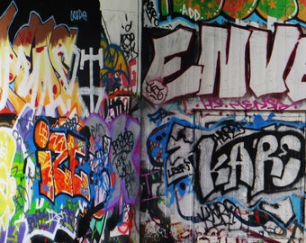 Graffiti Along The South Bank Skateboard Park,, London, Fine Art Photographic Blank Greetings Card