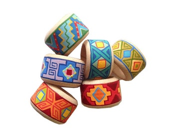 Hand painted Wooden Napkin Rings, Colourful ornaments, Set of 8, Wooden Napkin Ring Set, Armenian Ornaments, Festive Dinnerware