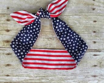 American flag headband bandana stars and stripes hair tie retro pinup rockabilly head wrap