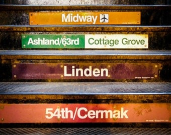 "Chicago Art, Chicago Photography, L Station, Chicago Train Stops, Urban Chicago, Orange Wall Art, Chicago Print - ""Stops"""