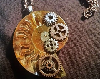 Steampunk shell necklace