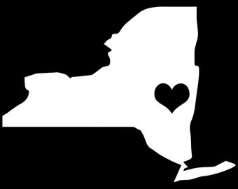 """New York NY State Love w/ Heart 5"""" Vinyl Decal Widow Sticker for Car, Truck, Motorcycle, Laptop, Ipad, Window, Wall, ETC"""